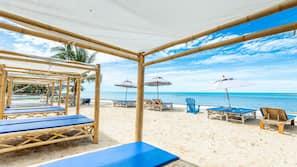 Beach nearby, white sand, beach shuttle, sun-loungers