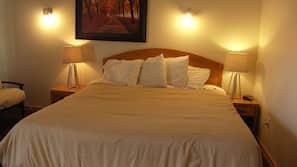 Premium bedding, memory foam beds, desk, blackout drapes