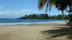 On the beach, sun-loungers, beach towels, kayaking