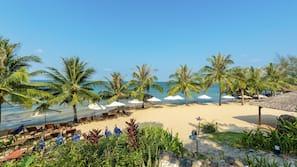 Bãi biển riêng, ghế dài tắm nắng, dù trên bãi biển, khăn tắm biển