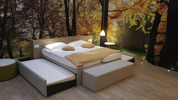 Select Comfort beds, in-room safe, blackout curtains, rollaway beds