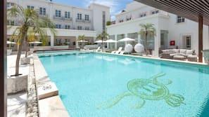 Indoor pool, outdoor pool, open open 24 hours a day, pool umbrellas