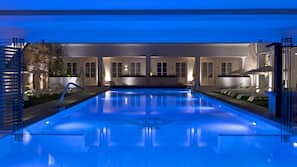 Indoor pool, outdoor pool, open 11 AM to 8 PM, pool loungers