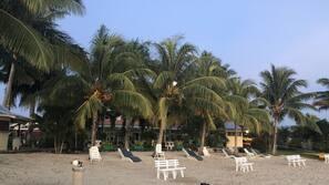 Private beach, sun loungers, beach towels, beach bar