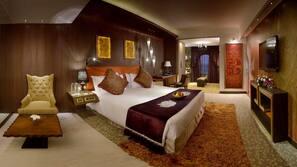 Premium bedding, down comforters, memory foam beds, minibar
