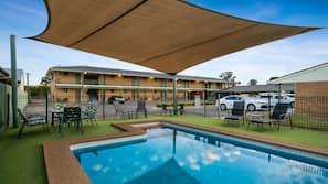 Seasonal outdoor pool, open 8:00 AM to 8:00 PM, pool umbrellas