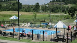 Seasonal outdoor pool, open 9 AM to 10 PM, pool umbrellas, sun loungers