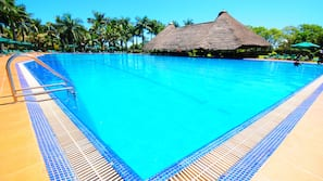2 outdoor pools, open 9:00 AM to 6:30 PM, pool umbrellas