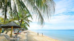 私人海灘、躺椅、太陽傘、海灘酒吧