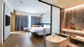 Premium bedding, down comforters, pillowtop beds, free minibar items