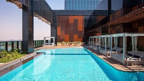 3 outdoor pools, open 8:00 AM to 8:00 PM, free cabanas, sun loungers