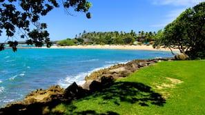 On the beach, sun-loungers, beach towels
