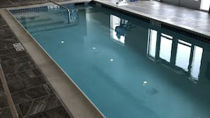 Indoor pool, open 9:00 AM to 10:00 PM, sun loungers
