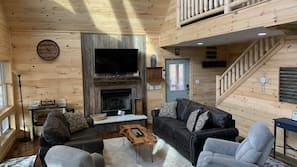 TV, fireplace, video games