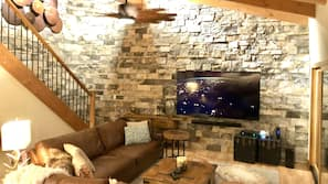 TV, fireplace, video game console, stereo