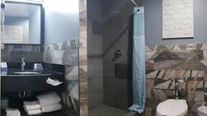 Shower, hair dryer, towels, soap