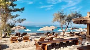 On the beach, white sand, beach umbrellas