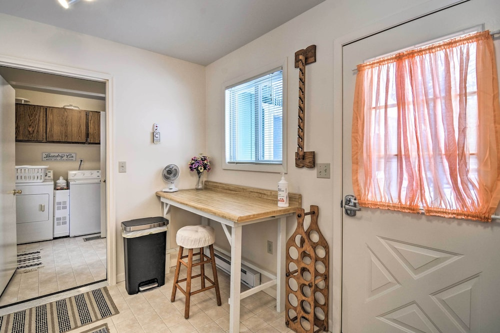 Laundry Room, New! Cozy Cottage w/ Hot Tub Access, Walk to Lake!