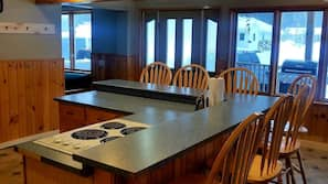 Paper towels, dining tables, kitchen islands