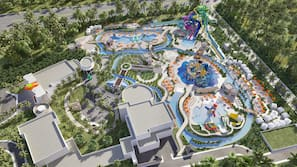 4 outdoor pools, free cabanas, pool umbrellas