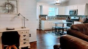 Smart TV, fireplace, DVD player, foosball