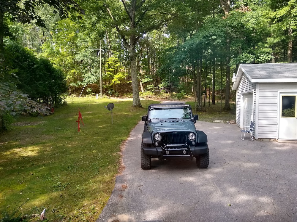 Parking, Pentwater River House Frontage Direct on River Overlooking 100s of Wooded Acres