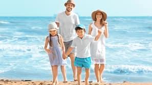 On the beach, white sand, free beach shuttle, beach cabanas
