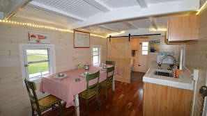 Fridge, microwave, toaster, blender