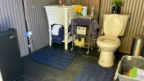 Hair dryer, towels, soap, toilet paper