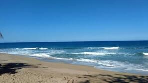 Private beach, sun loungers, beach towels, beach massages