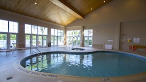 Indoor pool, open 8:00 AM to 9:00 PM, pool umbrellas, sun loungers