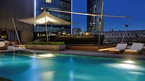 Indoor pool, outdoor pool, open 8:00 AM to 8:00 PM, free cabanas