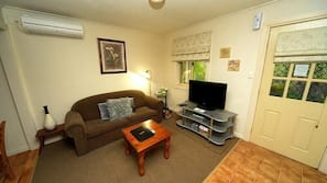LCD TV, fireplace, DVD player