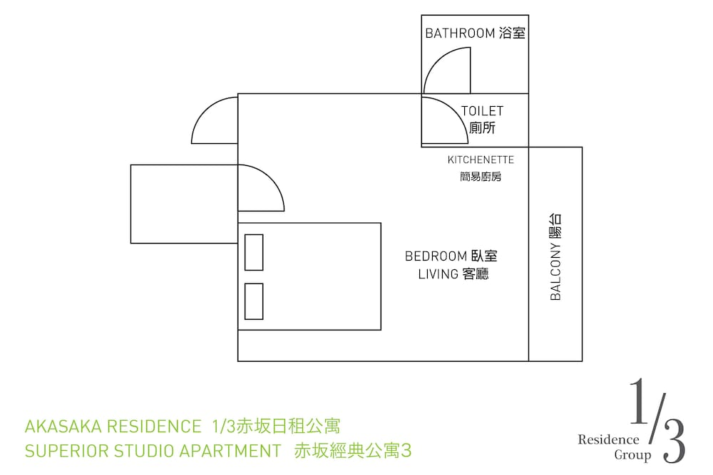 Floor plan, 1/3rd Residence Serviced Apartments Akasaka