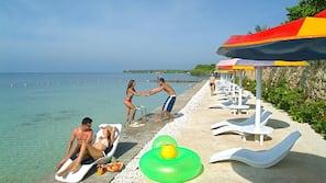 Private beach, sun-loungers, beach umbrellas, scuba diving