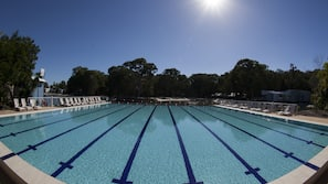 2 outdoor pools, open 7 AM to 9 PM, pool loungers
