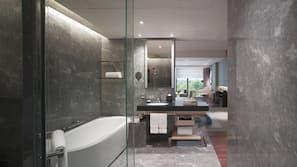 Separate tub and shower, deep soaking tub, hydromassage showerhead