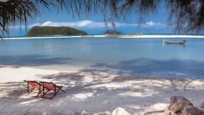 Plage, serviettes de plage, planche à voile, kayak