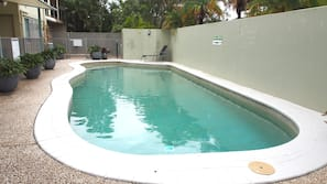 2 outdoor pools, open 8 AM to 9 PM, pool loungers