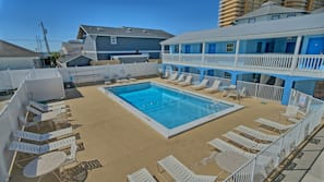 Outdoor pool, open 8:30 AM to 10:00 PM, sun loungers