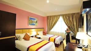 Egyptian cotton sheets, down duvet, pillow top beds, minibar