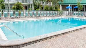 Outdoor pool, open 9:00 AM to 10:00 PM, pool umbrellas, sun loungers