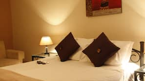 Egyptian cotton sheets, free minibar items, in-room safe
