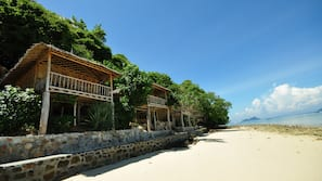 Private beach, white sand, fishing