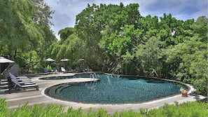 2 outdoor pools, open 6:00 AM to 6:00 PM, pool umbrellas, pool loungers