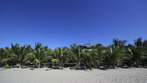 Beach nearby, sun loungers, beach umbrellas, beach volleyball