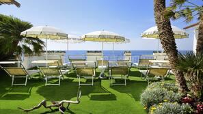 Private beach, sun-loungers, beach umbrellas, snorkelling