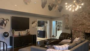 Smart TV, fireplace, video games, DVD player