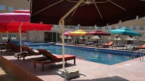 3 outdoor pools, open 7:00 AM to 7:00 PM, pool umbrellas, sun loungers