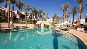 3 outdoor pools, open 6:00 AM to 5:00 PM, cabanas (surcharge)